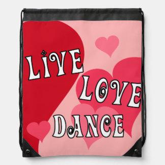 Live, Love, Dance Drawstring Bag