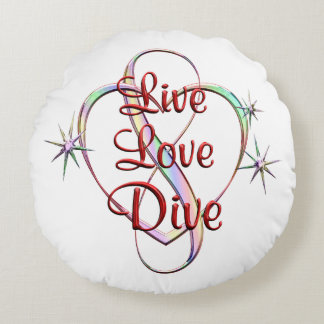 Live Love Dive Round Pillow