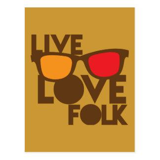 Live LOVE FOLK music Postcard