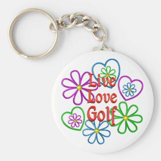 Live Love Golf Basic Round Button Keychain