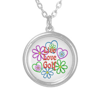Live Love Golf Silver Plated Necklace
