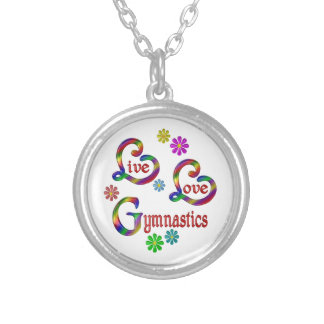 Live Love Gymnastics Silver Plated Necklace