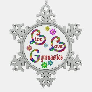 Live Love Gymnastics Snowflake Pewter Christmas Ornament