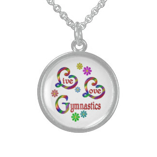 Live Love Gymnastics Sterling Silver Necklace