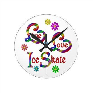 Live Love Ice Skate Round Clock