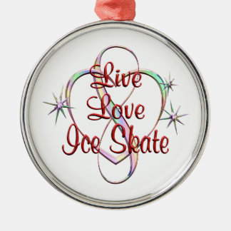 Live Love Ice Skate Silver-Colored Round Ornament