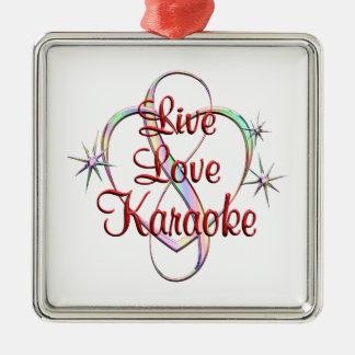 Live Love Karaoke Silver-Colored Square Ornament