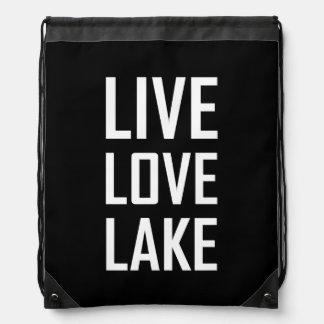 Live Love Lake Drawstring Bag