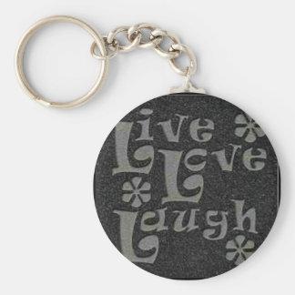 live love laugh basic round button keychain