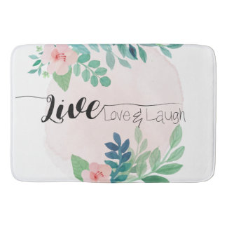 Live, Love, Laugh Boho Floral | Bath Mat