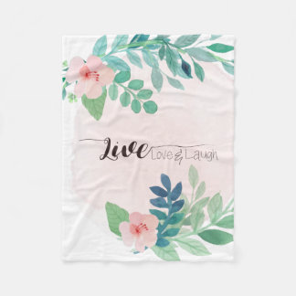 Live, Love, Laugh Boho Floral | Fleece Blanket