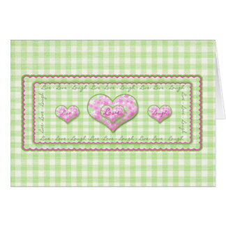LIVE LOVE LAUGH CARD - CALICO HEARTS/GINGHAM