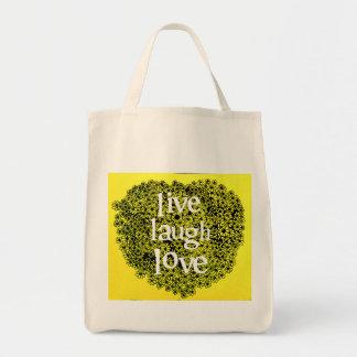 Live Love Laugh Daisy Heart Design Grocery Bag