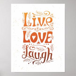 """Live. Love. Laugh"" Handwritten poster. Poster"