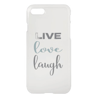 Live Love Laugh In Gray Blue Typography iPhone 8/7 Case