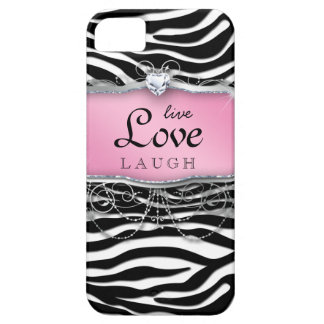 Live Love Laugh iPhone Case Cover Zebra Pink Heart