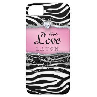 Live Love Laugh iPhone Case Cover Zebra Pink Heart