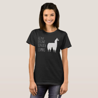 Live Love Laugh Llamas Funny Graphic Tee