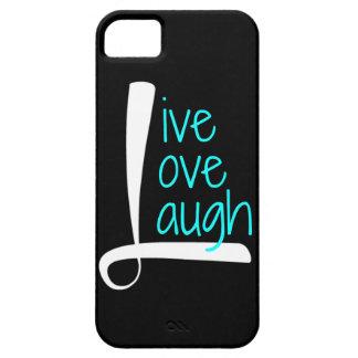 Live Love Laugh phone, White & Aqua on Black iPhone 5 Cases