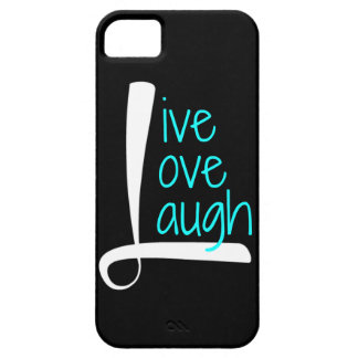 Live Love Laugh phone, White & Aqua on Black iPhone 5 Cover