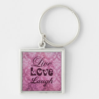 Live Love Laugh Pink Damask Pattern Silver-Colored Square Keychain