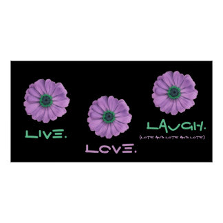 Live Love Laugh Poster - Purple and Green Daisies
