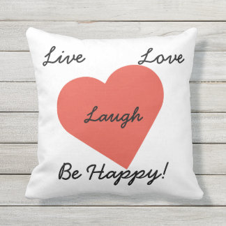 Live Love Laugh Red Heart Outdoor Pillow