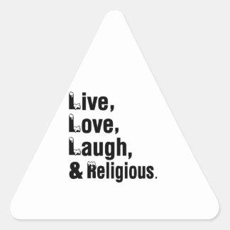 Live Love Laugh & Religious Triangle Sticker