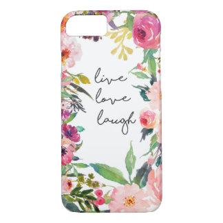 Live Love Laugh Watercolor Flower Phone Case