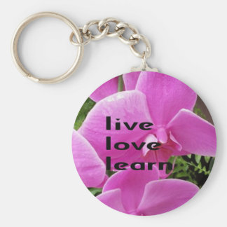 Live Love Learn Pink Floral Key Chain