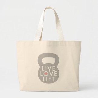 Live Love Lift in Grey Jumbo Tote Bag