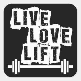 Live, Love, Lift Square Sticker