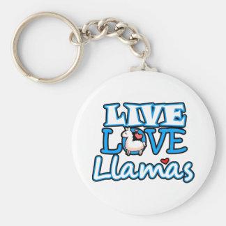 Live, Love, Llamas Keychain