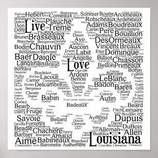 Live, Love, Louisiana Last Names Fleur - De - Lis Poster