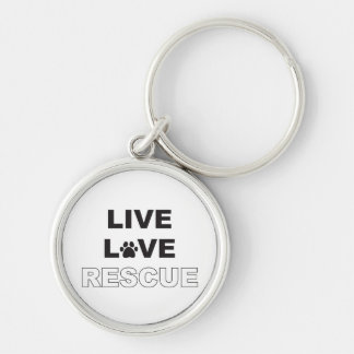 Live Love Rescue Silver-Colored Round Keychain