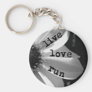 Live Love Run by Vetro Jewelry and Designs Basic Round Button Keychain
