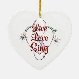 Live Love Sing Ceramic Heart Ornament