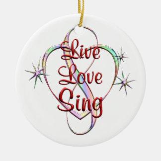 Live Love Sing Round Ceramic Ornament