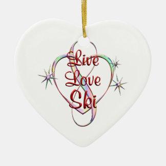 Live Love Ski Ceramic Heart Ornament