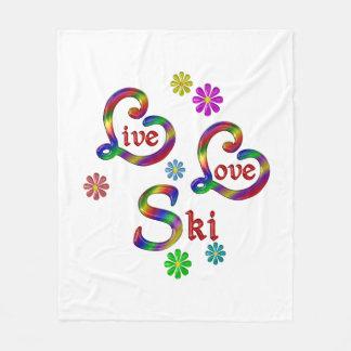 Live Love Ski Fleece Blanket