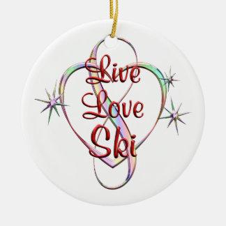 Live Love Ski Round Ceramic Ornament