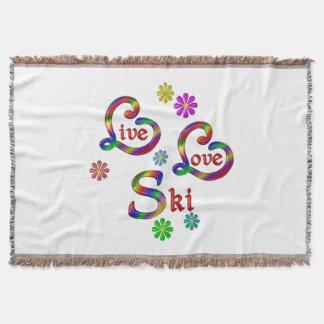 Live Love Ski Throw Blanket
