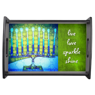 """Live, Love, Sparkle"" Blue Hanukkah Menorah Photo Serving Tray"