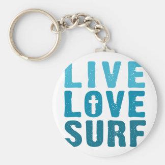 live-love-surf basic round button keychain