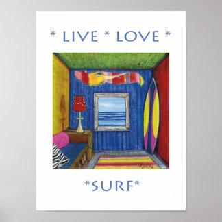 Live Love Surf Poster
