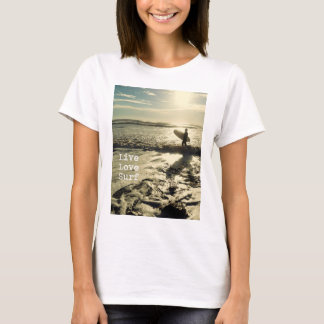 Live Love Surf womens' coastal quote t-shirt