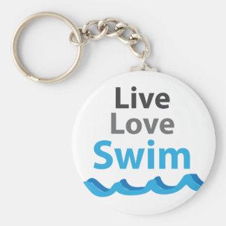 Live_Love_Swim Porte-clé Rond