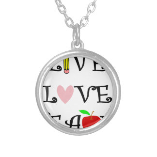 live love teach3 silver plated necklace