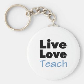 Live Love Teach (blue) Basic Round Button Keychain