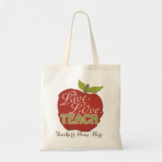 Live. Love. Teach | Personalized Teacher Gift Tote Bag